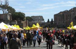 Domenica senz'auto, pedoni e ciclisti sfilano al Colosseo