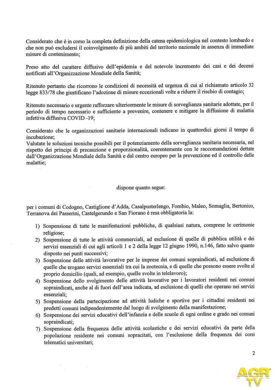 Coronavirus: ordinanza firmata da Speranza e Fontana