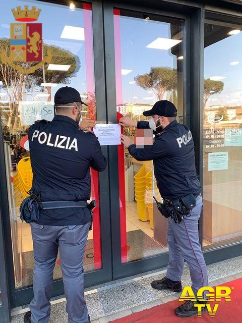Roma, pugno duro della polizia, chiusi otto esercizi commerciali
