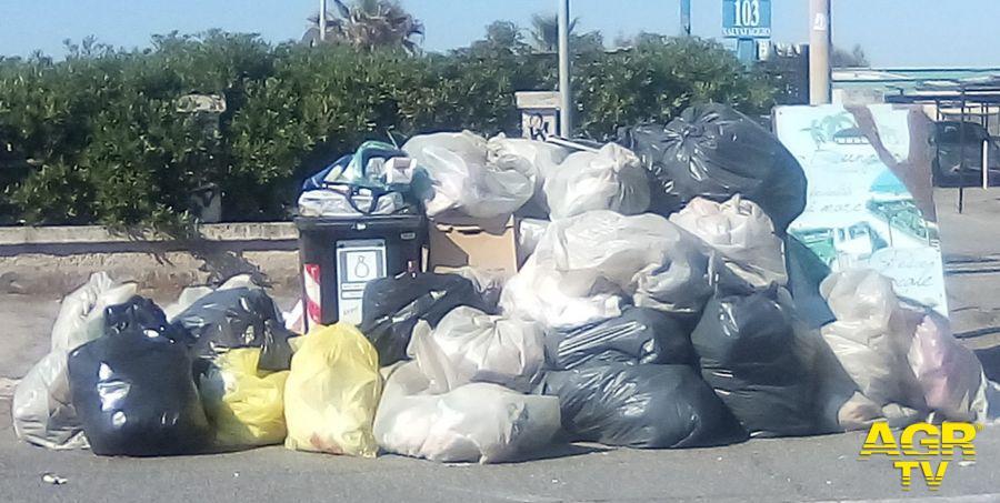 i rifiuti degli stabilimenti raccolti la mattina