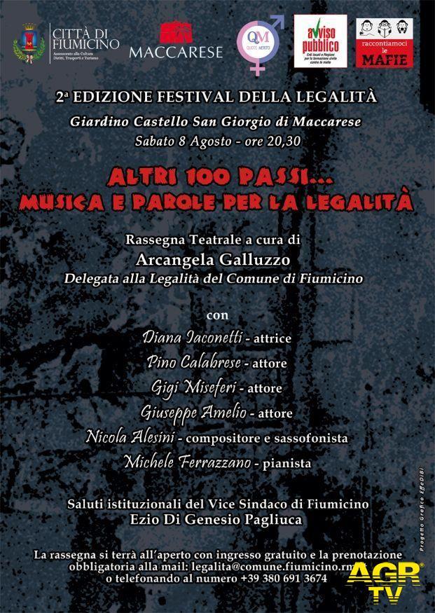 Maccarese, Festival della Legalità, sabato la serata conclusiva