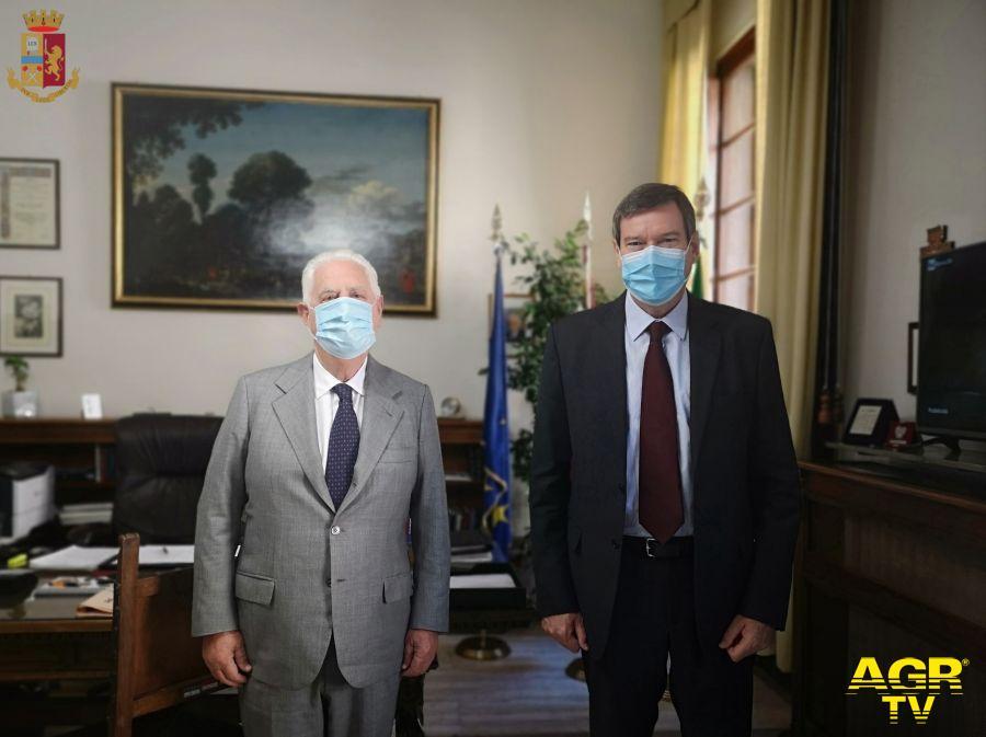 Il Questore Filippo Santarelli incontra il nuovo presidente di Confindustria Maurizio Bigazzi