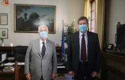 Firenze: Il Questore Filippo Santarelli incontra in via Zara il presidente di Confindustria Maurizio Bigazzi