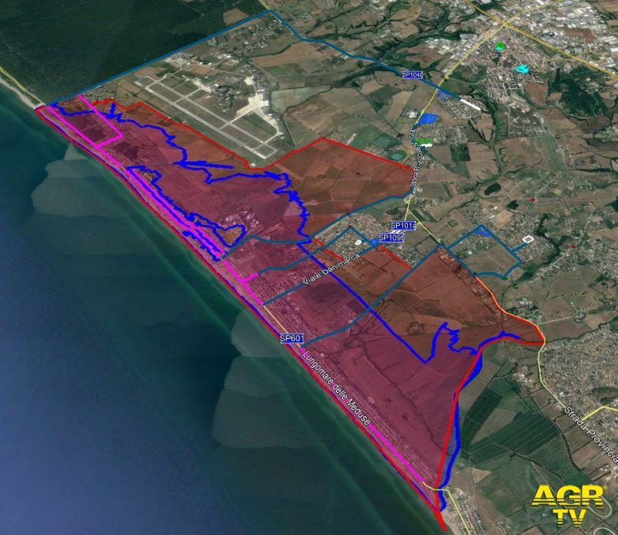 la cartina del territorio di Pomezia/Ardea