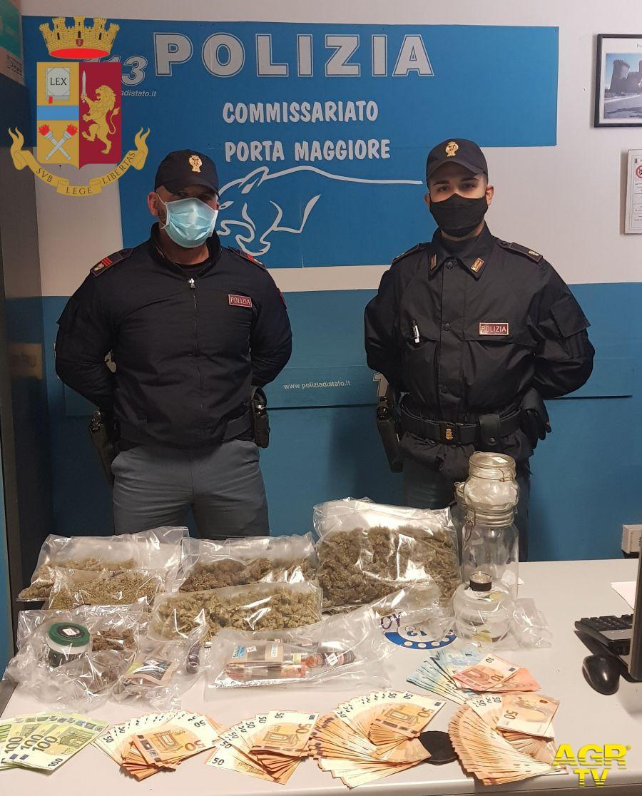 Prenestino. Polizia di Stato sequestra oltre 2kg di marijuana e 8.490 euro in contanti,