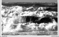 Ostia, lo spettacolo del mare in burrasca