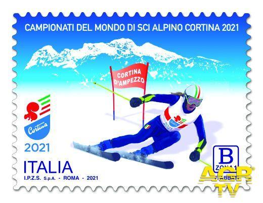 Francobollo dedicato ai Campionati del mondo di sci alpino a Cortina d'Ampezzo