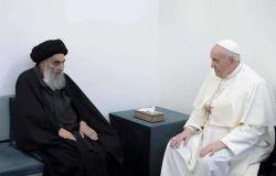 Iraq, incontro storico a favore dell'amicizia tra i popoli e le religioni, Papa Francesco e Al-Sistani
