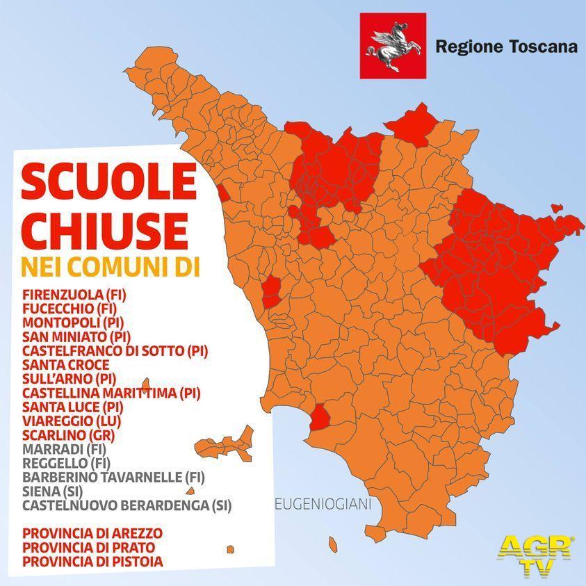 Regione Toscana Regione Toscana, l'elenco dei Comuni ai quali si applicano le misure da zona rossa