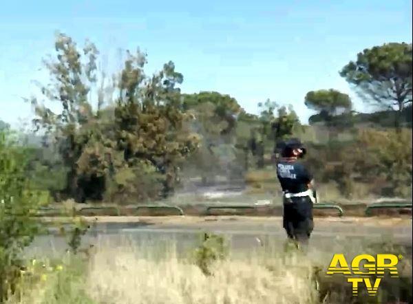 incendio ostia polizia locale traffico