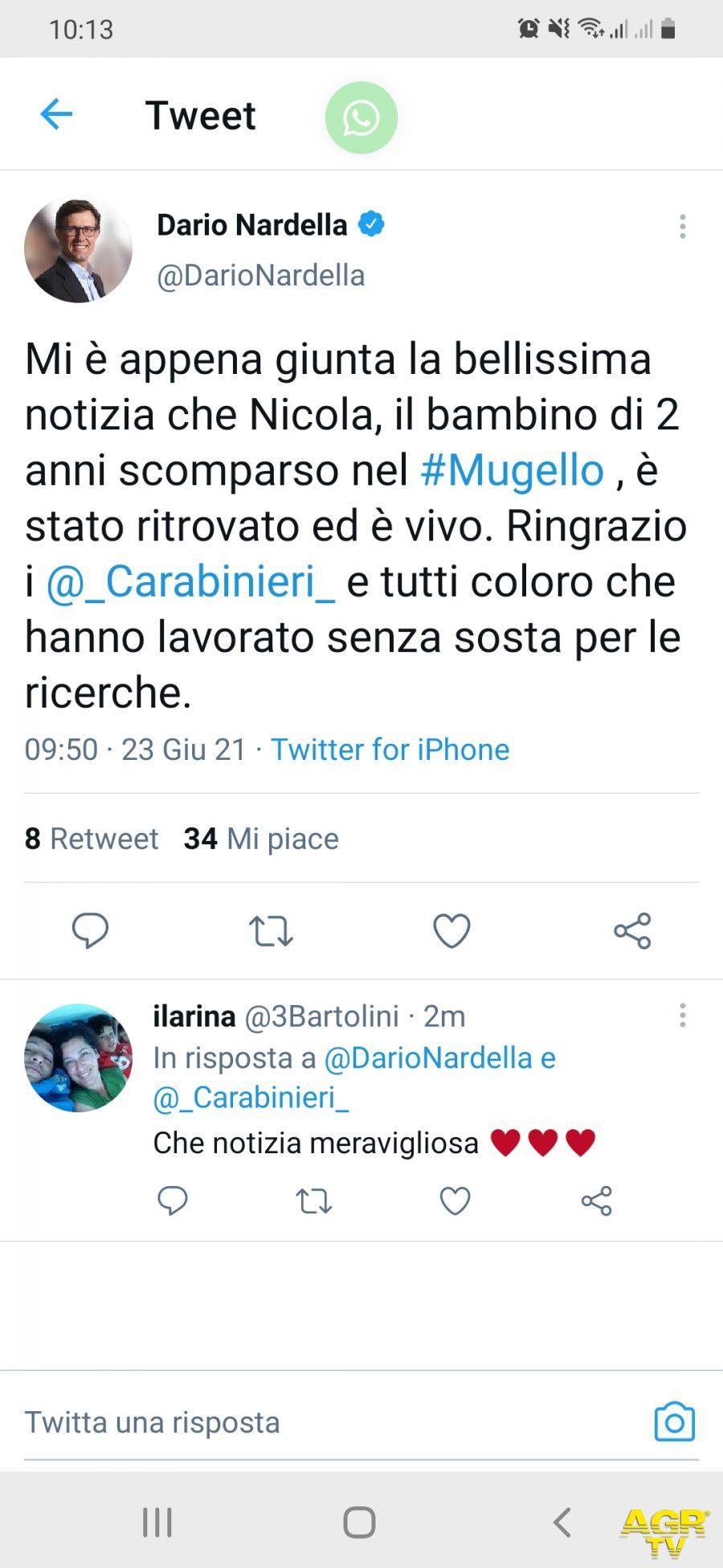 Città Metropolitana di Firenze Annuncio di Dario Nardella al Consiglio Metropolitano: Il piccolo Nicola è stato ritrovato ed è vivo