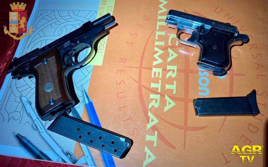 Sequestrate dalla Polizia di Stato 2pistole semiautomatiche
