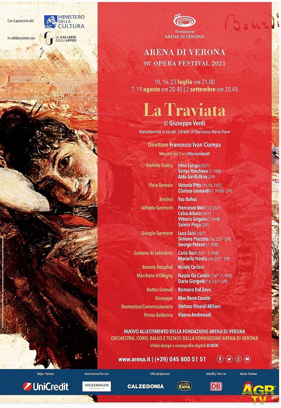 La  nuova traviata del 98° Arena di Verona Opera Festival 2021 tra belle époque e ritratti di signora