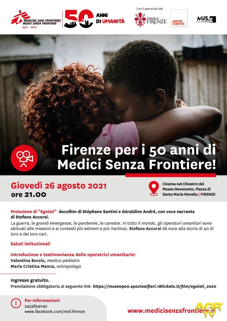 Comune di Firenze Firenze per i 50 anni di Medici Senza Frontiere, giovedì la proiezione del docufilm Egoisti nel chiostro del Museo Novecento