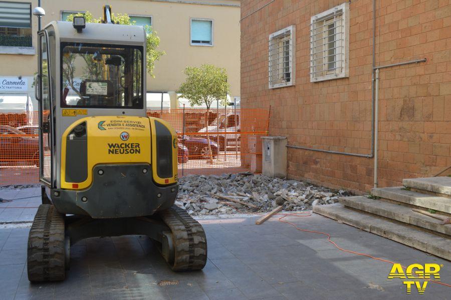 Pomezia: Piazza Indipendenza e largo Catone, partiti i lavori di riqualificazione
