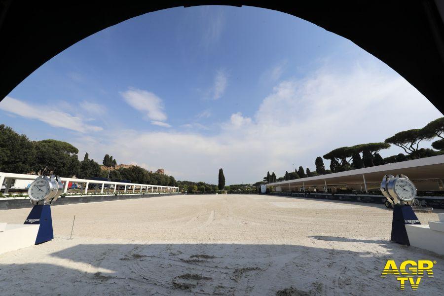 Il Circo Massimo preparato per ospitare l'evento