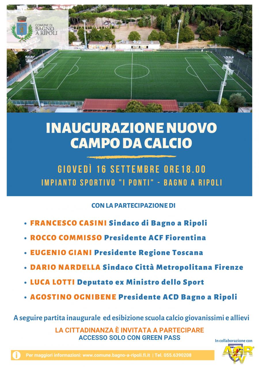 Comune di Bagno a Ripoli Bagno a Ripoli, inaugurazione nuovo campo sportivo ai Ponti con Rocco Commisso, Giani, Nardella e Lotti